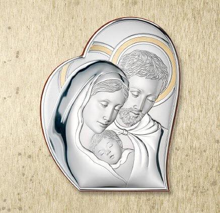 Versilbertes Bild - Andenken zur Hochzeit oder Hochzeitsjubiläum - Heilige Familie - Valenti