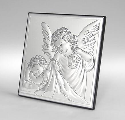 Versilbertes Bild - Andenken zur Taufe - Engelchen über Kind - Valenti
