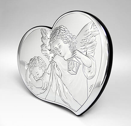 Engel über Kind - Silberbild