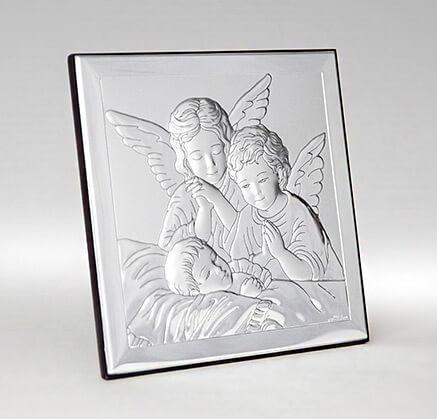 Versilbertes Bild zur Taufe - Engel über Kind - Valenti