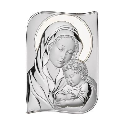 Gottesmutter mit dem Jesuskind Versilbertes Bild