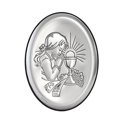 Kommuniongeschenk für Mädchen Silber Bild zur Erstkommunion
