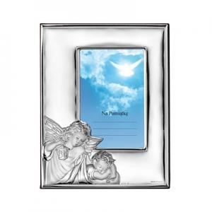 Silber Bilderrahmen mit Engeln Gechenk für Patenkind