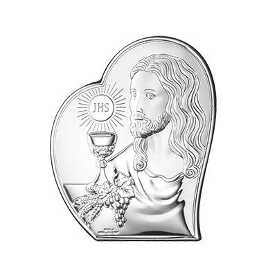 Jesus Christus zur Kommunion Silber Bild zur Erstkommunion