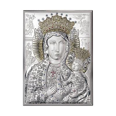 Schwarze Madonna von Tschenstochau Silberne Ikone