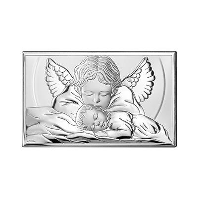 Engelchen über Kind Silberbild zur Taufe