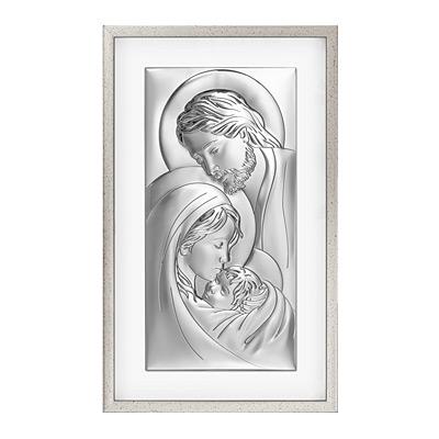 Heilige Familie Silbernes Bild in Rahmen