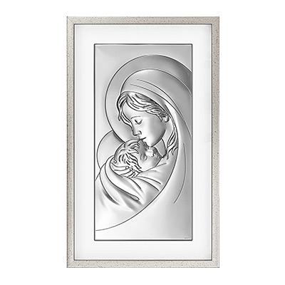 Gottesmutter Maria mit Kind Silbernes Bild in Rahmen