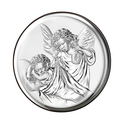 Engel über Kind Versilbertes Bild zur Taufe