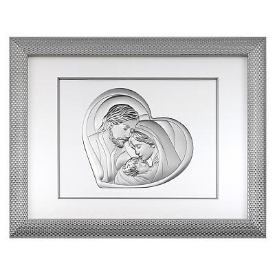 Heilige Familie Silber Bild in Rahmen hinter Glas