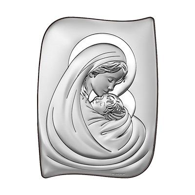 Gottesmutter Maria mit Kind Silber Bild Beltrami