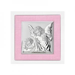 Silber Bild Engel über Kind Taufgeschenk für Patenkind